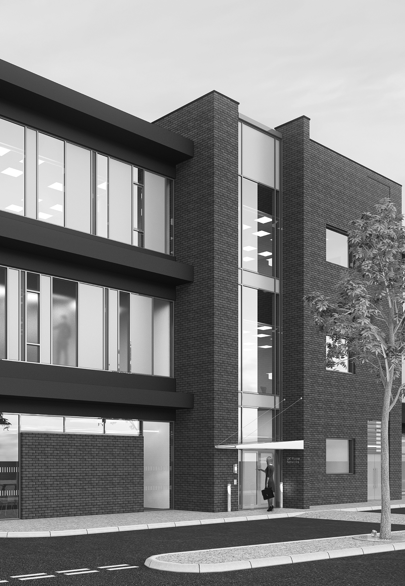Brick and curtain wall office building