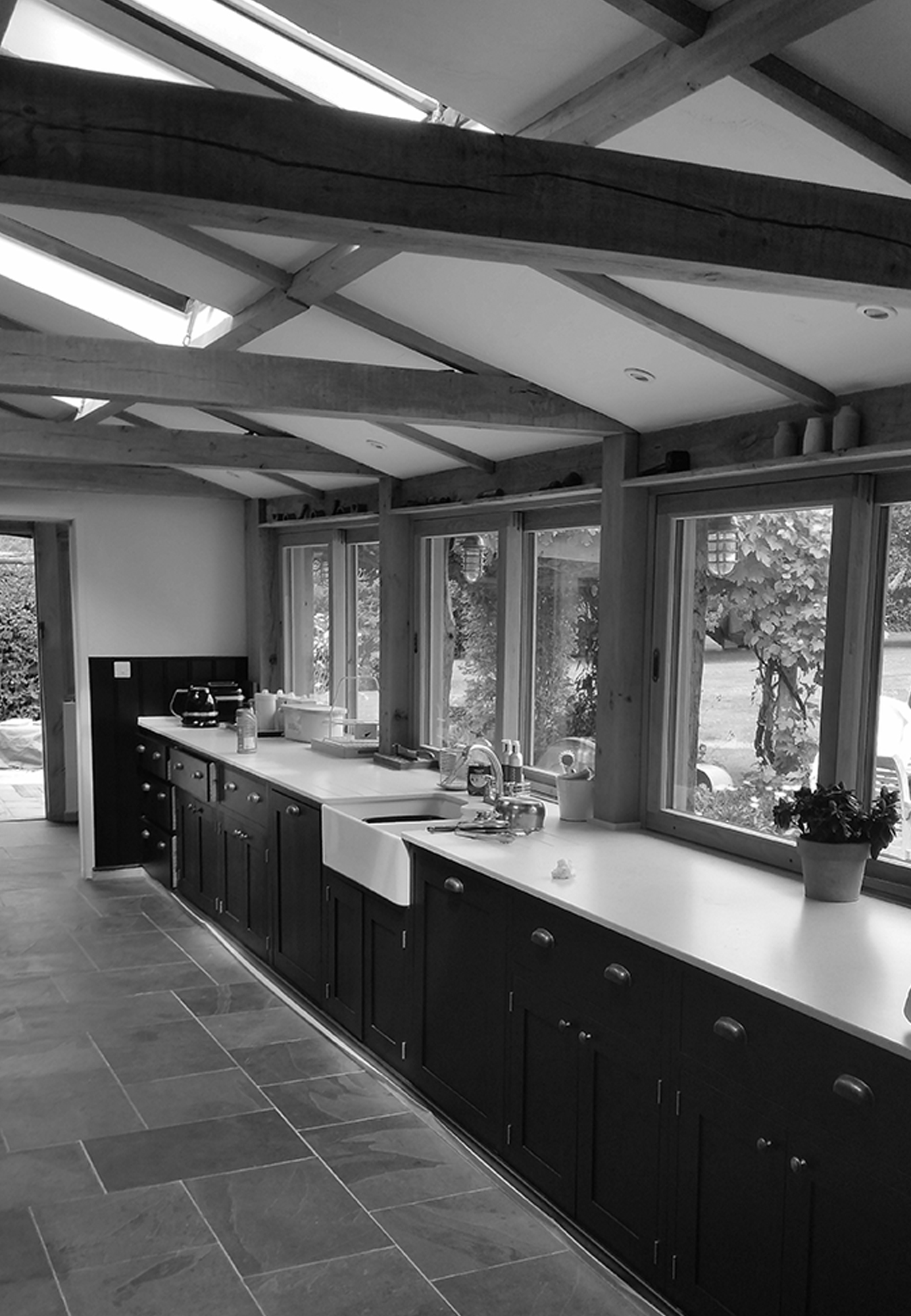 Oak frame kitchen interior